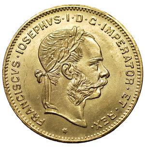 obverse: Austria \ Österreich. Franz Joseph I. 1848-1916. 4 Fl. - 10 Fr.. Gold 900 ‰ 3.23 gr. – 19.20 mm.  , S625, KM2260. MS, Lustros