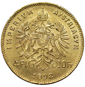 reverse: Austria \ Österreich. Franz Joseph I. 1848-1916. 4 Fl. - 10 Fr.. Gold 900 ‰ 3.23 gr. – 19.20 mm.  , S625, KM2260. MS, Lustros