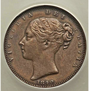 obverse: Great Britain. Victoria Farthing 1840 XF45 ANACS, KM725, S-3950