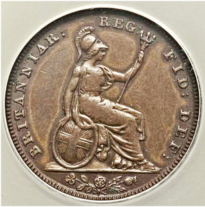 reverse: Great Britain. Victoria Farthing 1840 XF45 ANACS, KM725, S-3950