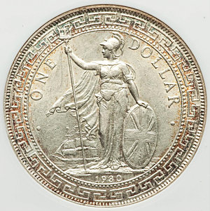 obverse: Great Britain. George V Trade Dollar 1930 AU55 ANACS, KM-T5