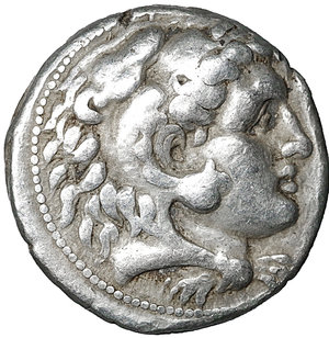 obverse: Macedon. Alexander III 'the Great'. 336-323 BC. Asia Minor, Uncertain southern mint. Circa 320-280 BC. AR Tetradrachm. (25mm, 17.12g). O:\ Head of Herakles right, wearing lion skin. R:\ Zeus Aëtophoros seated left; lagobolon in left field, K below throne. Price 3070. VF/XF