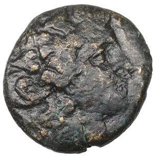 obverse: Macedon, Thessalonica Æ20. Circa 187-31 BC. Bronze 10,25 gr. - 19,8 mm. Wreathed head of Dionysos right / Pegasos flying right. Cf. SNG ANS 800 (Goat on reverse). VF