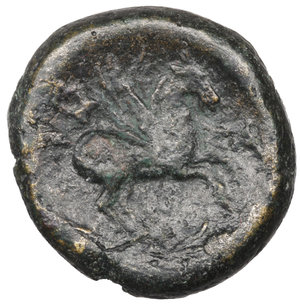 reverse: Macedon, Thessalonica Æ20. Circa 187-31 BC. Bronze 10,25 gr. - 19,8 mm. Wreathed head of Dionysos right / Pegasos flying right. Cf. SNG ANS 800 (Goat on reverse). VF