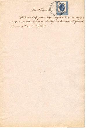 obverse: REGNO LOMBARDO VENETO. Venezia. 25-11-1865. Documento del Regio Tribunale reso bollato da marca di transizione da. Lire 0,89 – Fiorini 0,36. Dimensioni: 20 Cm X 29 Cm