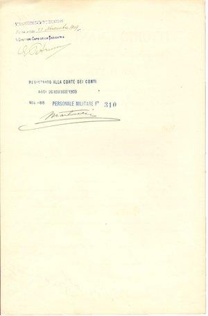 reverse: Roma. 1909. Documento ministeriale con firma autografa di Vittorio Emanuele III di Savoia. Re d Italia.