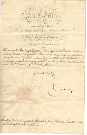 obverse: Torino. 1827. Manoscritto con firma autografa di Carlo Felice Re di Sardegna. Documento di promozione a luogotenente.