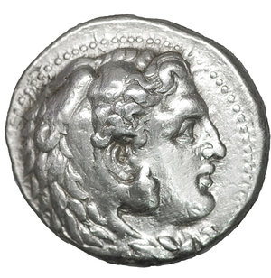 obverse: Kings of Macedon. Babylon. Philip III Arrhidaeus 323-317 BC. In the name and types of Alexander III. Struck under Archon, Dokimos, or Seleukos I, circa 323-318/7 BC. Tetradrachm. AR 25mm., 17,07g. O:\ Head of Herakles to right, wearing lion skin headdress, paws tied beneath chin. R:\ ΒΑΣΙΛΕ[ΩΣ] ΑΛΕΞΑΝΔ[ΡΟΥ], Zeus seated left on high-backed throne, right leg drawn back, holding long scepter in his left hand and, in his right, eagle standing right with closed wings, M in left field, ΛY below throne. Price 3692. Rare. XF