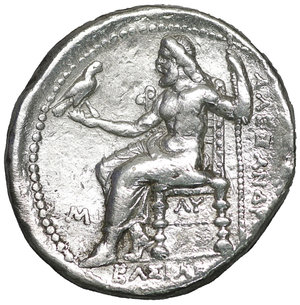 reverse: Kings of Macedon. Babylon. Philip III Arrhidaeus 323-317 BC. In the name and types of Alexander III. Struck under Archon, Dokimos, or Seleukos I, circa 323-318/7 BC. Tetradrachm. AR 25mm., 17,07g. O:\ Head of Herakles to right, wearing lion skin headdress, paws tied beneath chin. R:\ ΒΑΣΙΛΕ[ΩΣ] ΑΛΕΞΑΝΔ[ΡΟΥ], Zeus seated left on high-backed throne, right leg drawn back, holding long scepter in his left hand and, in his right, eagle standing right with closed wings, M in left field, ΛY below throne. Price 3692. Rare. XF