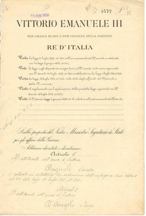 obverse: Roma - 17 Febbraio 1924. Firme autografe del Re Vittorio Emanuele III e del Ministro della guerra Armando Diaz