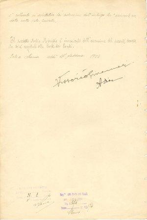 reverse: Roma - 17 Febbraio 1924. Firme autografe del Re Vittorio Emanuele III e del Ministro della guerra Armando Diaz