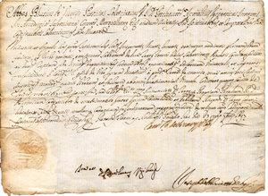 """obverse: Salerno. 1697. Dispensa di matrimonio intestata a Blasio de Vicari Protonotario Apostolico. In basso sigillo a secco """"CAPITLVM SALERNI"""". Dimensioni: 20Cm X27,5 Cm"""