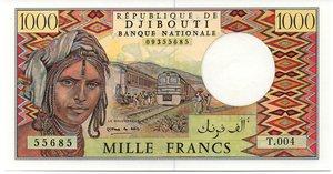 obverse: DJIBOUTI 1000 FRANCS SENZA DATA