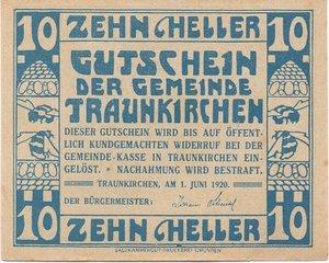 obverse: Germany NOTGELD 10 HELLER 1920