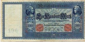 obverse: Germany - 100 MARK 1908 RARA P,557 35