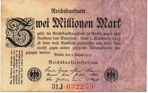 obverse: Germany - 2 MILIONI DI MARCHI 1923