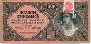 obverse: Hungary 1000 PENGO 1945