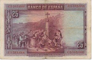 reverse: SPAGNA 25 PESETAS 1928