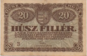 obverse: Hungary 20 FILLER 1920