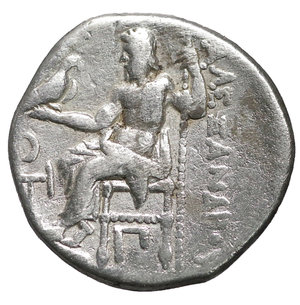 reverse: KINGS of MACEDON. Antigonos I Monophthalmos. As Strategos of Asia, 320-306/5 BC, or king, 306/5-301 BC. AR Drachm. Kolophon mint. 17 mm - 4,28 gr. In the name and types of Alexander III. Struck circa 310-301 BC. O:\ Head of Herakles right, wearing lion skin. R:\ Zeus Aëtophoros seated left; in left field, crescent leftward; below throne, Π below strut. Price 1813. VF\XF