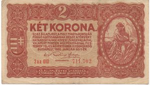 obverse: Hungary 2 KORONA 1920