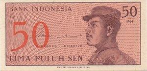 obverse: INDONESIA 50 SEN 1964