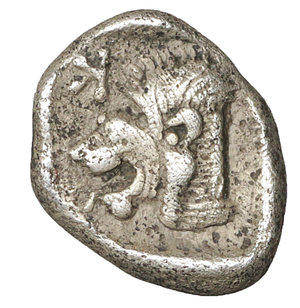obverse: MYSIA. Cyzicus. 480-400 B.C. Obol. AR 10 mm - 0.80 gr. - 10h. O:\ Forepart of boar left, tunny fish upward facing at right. R:\ Lion s head to left in incuse square. SNG vA 1215. XF