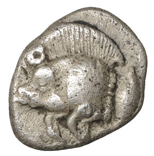reverse: MYSIA. Cyzicus. 480-400 B.C. Obol. AR 10 mm - 0.80 gr. - 10h. O:\ Forepart of boar left, tunny fish upward facing at right. R:\ Lion s head to left in incuse square. SNG vA 1215. XF