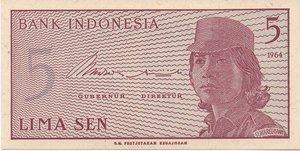 obverse: INDONESIA 5 SEN 1964