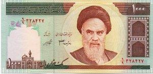 obverse: IRAN  1000 RIALS 2009 KOHMEINI