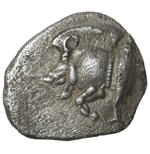 obverse: MYSIA. Cyzicus. 480-400 BC. AR Diobol. 1.15 gr. – 12.4 mm. O:\ Forepart of boar left, tunny fish upward facing at right. R:\ Lion s head to left in incuse square.  BMC-15.34, 110. XF