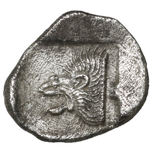 reverse: MYSIA. Cyzicus. 480-400 BC. AR Diobol. 1.15 gr. – 12.4 mm. O:\ Forepart of boar left, tunny fish upward facing at right. R:\ Lion s head to left in incuse square.  BMC-15.34, 110. XF