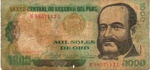 obverse: PERU  1000 SOLES DE ORO 1981