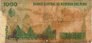 reverse: PERU  1000 SOLES DE ORO 1981