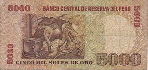 reverse: PERU  5000 SOLES DE ORO 1981