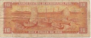 reverse: PERU  10 SOLES DE ORO 1976