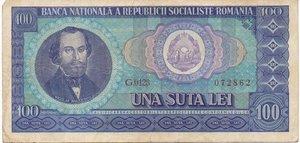 obverse: ROMANIA - 100 LEI 1966