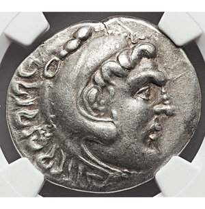 obverse: PAMPHYLIA. Aspendus. 212/11-184/3 BC. AR tetradrachm. 33 mm - 16.63 gr., 12h. Name and types of Alexander III the Great of Macedon, dated Civic Year 11 (ca. 202/1 BC). O:\ Head of Heracles right, wearing lion-skin headdress, paws tied before neck. R:\ AΛEΞANΔPOY, Zeus seated left on backless throne, right leg drawn back, feet on ground line, eagle in right hand, scepter in left; AΣ above IA (date) in left field. Price 2891. NGC XF 5/5 - 4/5.