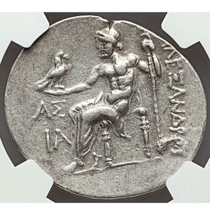 reverse: PAMPHYLIA. Aspendus. 212/11-184/3 BC. AR tetradrachm. 33 mm - 16.63 gr., 12h. Name and types of Alexander III the Great of Macedon, dated Civic Year 11 (ca. 202/1 BC). O:\ Head of Heracles right, wearing lion-skin headdress, paws tied before neck. R:\ AΛEΞANΔPOY, Zeus seated left on backless throne, right leg drawn back, feet on ground line, eagle in right hand, scepter in left; AΣ above IA (date) in left field. Price 2891. NGC XF 5/5 - 4/5.