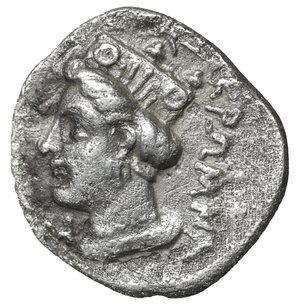 reverse: PAPHLAGONIA. Kromna. 350-330 BC. Tetrobol or Drachm. 3.15 gr. – 17.00 mm. O:\ Laureate head of Zeus left. R:\ KPΩMNA. Head of Hera-Tyche left, wearing turreted polos; N to left. Cf. SNG BM Black Sea 1328-30; cf. HGC 7, 369. R2. VF+