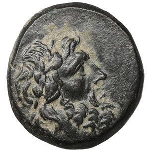 obverse: Paphlagonia. Sinope. 95-70 BC. Struck under Mithradates VI Eupator. Bronze. 8.00 gr. – 18.7 mm. O:\ Laureate head of Zeus right. R:\ ΣΙΝΩΠΗΣ. Eagle, with head right and wings spread, standing left on thunderbolt; monogram to left. SNG BM Black Sea 1543-9; HGC 7, 421. Dark patina. XF+