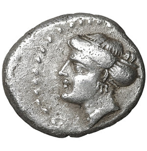 obverse: Paphlagonia, Sinope. Late 4th-3rd century BC. AR Hemidrachm. 3.05 gr. – 15.7 mm. O:\ Head of nymph left, hair in sakkos, wearing triple-pendant earring and pearl necklace. R:\ Eagle facing, head left, wings displayed; ΣI-NΩ across field, ΠP monogram to upper right. RG 30; SNG BM Black Sea 1496; SNG Stancomb 778 var. (monogram); SNG von Aulock 216; SNG Copenhagen 298 var. (same). XF