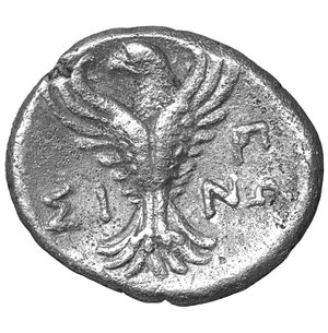 reverse: Paphlagonia, Sinope. Late 4th-3rd century BC. AR Hemidrachm. 3.05 gr. – 15.7 mm. O:\ Head of nymph left, hair in sakkos, wearing triple-pendant earring and pearl necklace. R:\ Eagle facing, head left, wings displayed; ΣI-NΩ across field, ΠP monogram to upper right. RG 30; SNG BM Black Sea 1496; SNG Stancomb 778 var. (monogram); SNG von Aulock 216; SNG Copenhagen 298 var. (same). XF