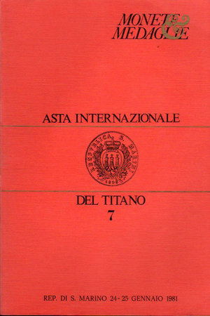 obverse: Catalogo d asta numismatica. Asta Internazionale del Titano 7. San marino. 24-25 Gennaio 1981