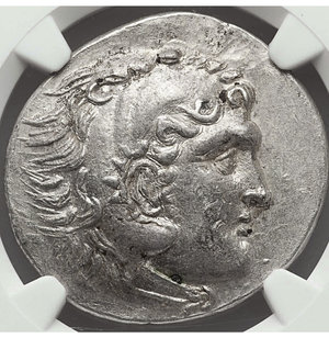 obverse: LYCIA. Phaselis. 218-185 BC. AR tetradrachm. 34 mm - 16.31 gr, 11h. Ancient forgery, imitating issue in the name and types of Alexander III the Great of Macedon, dated Civic Year 11 (208/7 BC). O:\ Head of Heracles right, wearing lion-skin headdress, paws tied before neck. R:\ AΛEΞANΔPOY, Zeus seated left on backless throne, right leg drawn back, feet on ground line, eagle in right hand, scepter in left; IA (date) above Φ in left field. Cf. Price 2849 (official issue of this type and date). Rare. NGC Choice AU 5/5 - 4/5.