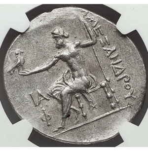 reverse: LYCIA. Phaselis. 218-185 BC. AR tetradrachm. 34 mm - 16.31 gr, 11h. Ancient forgery, imitating issue in the name and types of Alexander III the Great of Macedon, dated Civic Year 11 (208/7 BC). O:\ Head of Heracles right, wearing lion-skin headdress, paws tied before neck. R:\ AΛEΞANΔPOY, Zeus seated left on backless throne, right leg drawn back, feet on ground line, eagle in right hand, scepter in left; IA (date) above Φ in left field. Cf. Price 2849 (official issue of this type and date). Rare. NGC Choice AU 5/5 - 4/5.