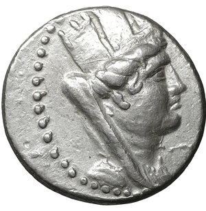 obverse: PHOENICIA. Aradus.  138/7-44/3 BC. AR tetradrachm. 26 mm - 14.99 gr, 12h. Dated Civic Year 192 (68/7 BC). O:\ Veiled, draped, and turreted bust of Tyche right; dotted border. R:\ APAΔIΩN, Nike standing left, aphlaston upward in right hand, palm in left over shoulder; BqP (date) / q / MΣ in left field, all within wreath. HGC 10, 72. DCA 772. Duyrat 3800. XF