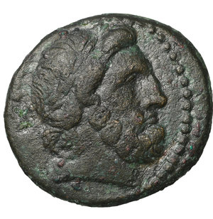 obverse: Phrygia. Apameia. after 133 BC. Bronze. 7.20 gr. – 20.5 mm. O:\ Laureate head of Zeus right. R:\ AΠAMEΩN HPAKΛEI EΓΛO, cult-statue of Artemis Anaitis seen from front. SNG München 123; SNG Tübingen 3967. XF