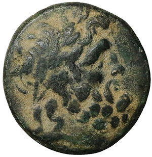 obverse: Phrygia, Apameia. Bronze. (22mm, 8.07g). Circa 100-50 BC. Andron- and Alkio-, magistrates. O:\ Laureate head of Zeus right. R:\ Cult statue of Artemis Anaïtis facing; AΠΑΜΕΩN downwards in right field, ANΔΡΟΝΙ and ΑΛΚΙΟΥ downwards in left field. SNG Copenhagen 177; SNG von Aulock 8338. XF