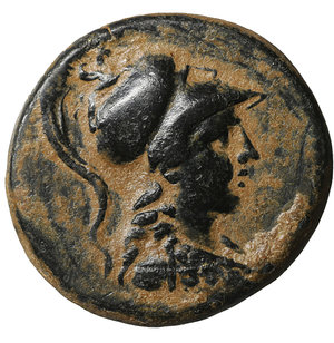 obverse: Apameia. Phrygia. 133-48 BC. Bronze. 8.30 gr. – 22.6 mm. Magistrate Andronikos-Alkios. O:\ Head of Athena right. R:\ AΠAMEΩN ANΔΡONIK-AΛKION, eagle alighting right on maeander symbol between two pilei and two stars. BMC 37-39; Weber 7024; Hunter 3; SNG Lewis 1010; SNG Cop 163; Walcher 2747; SNG Tuebingen 3955-2956; SNG Munich 109. XF+